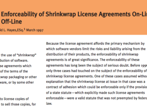 The Enforceability of Shrink-wrap License Agreements On-Line and Off-Line